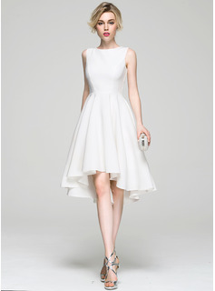 A-Line/Princess Scoop Neck Asymmetrical Satin Cocktail Dress (016081196)
