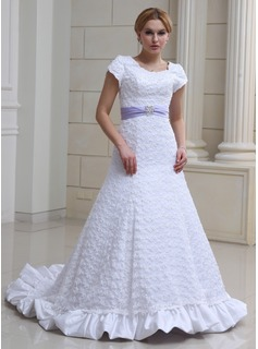 A-Line/Princess Scoop Neck Chapel Train Satin Lace Wedding Dress With Ruffle Sash Beading Bow(s) (002000230)