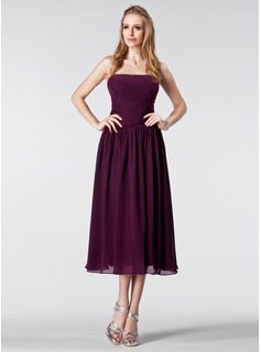 Empire Strapless Tea-Length Chiffon Bridesmaid Dress With Ruffle (007005179)