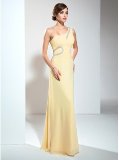 Cheap Evening Dresses A-Line/Princess One-Shoulder Court Train Chiffon Evening Dress With Ruffle Beading (017002610)