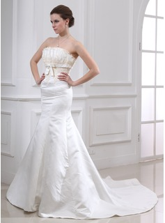 Empire Strapless Chapel Train Satin Wedding Dresses With Lace Beadwork (002000079)