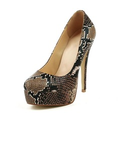 Real Leather Stiletto Heel Pumps Platform Closed Toe With Animal Print shoes (085026632)