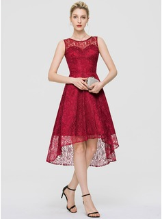 A-Line Scoop Neck Asymmetrical Lace Cocktail Dress (016189326)