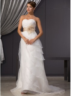 A-Line/Princess Sweetheart Court Train Organza Satin Wedding Dress With Ruffle Sash Beading Flower(s) (002014482)