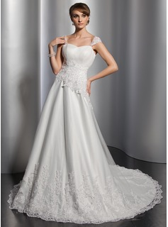 A-Line/Princess Sweetheart Chapel Train Satin Tulle Wedding Dress With Ruffle Lace Sequins (002014823)