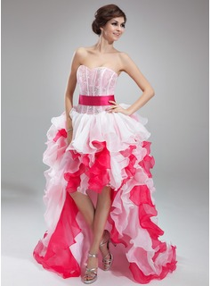 Robe de Bal de Promo Ligne-A/Princesse Cur Assymetrique Organza Robe de Bal de Promo avec Dentelle Sash (018018804)