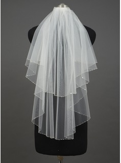 Two-tier Elbow Bridal Veils With Sequin Trim Edge (006034404)
