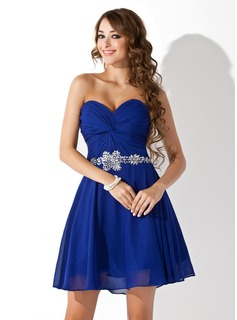 A-Line/Princess Sweetheart Short/Mini Chiffon Homecoming Dress With Ruffle Beading Sequins (022020989)