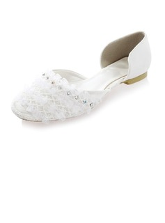 Women's Silk Like Satin Flat Heel Closed Toe Flats With Rhinestone Stitching Lace (047041234)