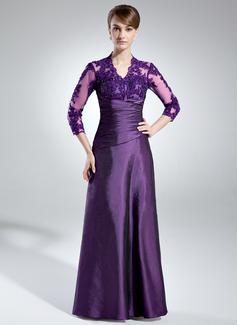 A-Linie/Princess-Linie V-Ausschnitt Bodenlang Taft Kleid für die Brautmutter mit Rüschen Lace Perlstickerei Pailletten (008005866)