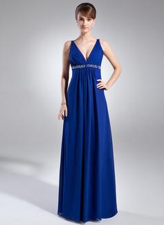 Empire-Linie V-Ausschnitt Bodenlang Chiffon Festliche Kleid mit Rüschen Perlstickerei Pailletten (020025947)