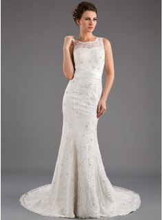 Trumpet/Mermaid Scoop Neck Court Train Satin Lace Wedding Dress With Beading Sequins Bow(s) (002035872)