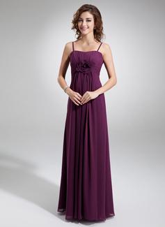 Empire-Linie Herzausschnitt Bodenlang Chiffon Brautjungfernkleid mit Rüschen Blumen (007004300)