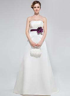 Forme Princesse Sans bretelle alayage/Pinceau train Satiné Robe de demoiselle d'honneur avec Plissé Ceintures Fleur(s) (018047253)