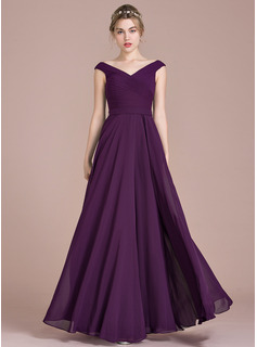 A-Line/Princess Off-the-Shoulder Floor-Length Chiffon Prom Dresses With Ruffle (018112841)