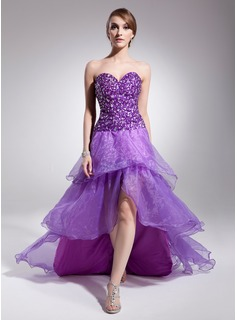 Robe de Bal de Promo Ligne-A/Princesse Cur Assymetrique Organza Charmeuse Robe de Bal de Promo avec Brod (018014511)