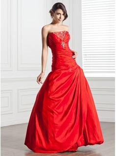 A-Line/Princess Strapless Floor-Length Taffeta Quinceanera Dress With Ruffle Beading Sequins (021005276)