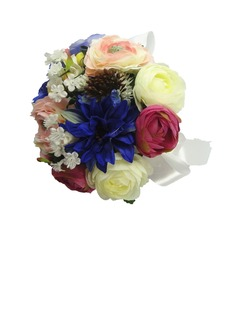 Colorful Hand-tied/Round Satin Bridesmaid Bouquets (123031470)