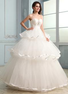 Corte de baile Escote corazón Vestido Tul Charmeuse Vestido de novia con Volantes Bordado (002030755)