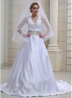 A-Line/Princess Halter Chapel Train Satin Wedding Dress With Embroidery Sash Beading (002000039)