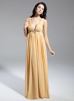 Empire-Linie V-Ausschnitt Bodenlang Chiffon Kleid für die Brautmutter mit Rüschen Perlen verziert (008014934)