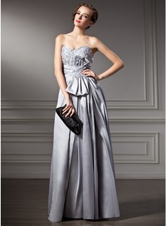 A-Line/Princess Sweetheart Floor-Length Taffeta Holiday Dress With Lace Beading Sequins (020025937)