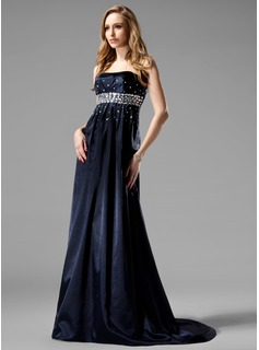 Empire Strapless Sweep Train Charmeuse Evening Dress With Beading (017004366)
