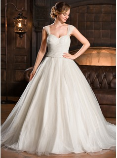Ball-Gown Sweetheart Chapel Train Taffeta Tulle Wedding Dress With Ruffle Beading Sequins (002056698)