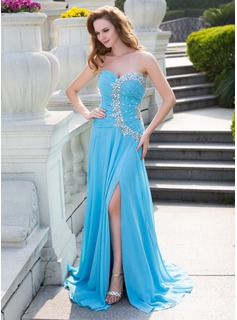A-Line/Princess Sweetheart Sweep Train Chiffon Prom Dress With Ruffle Beading Split Front (018024651)