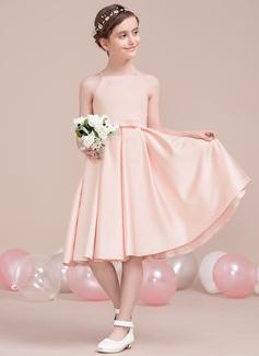 A-Linie/Princess-Linie Rechteckiger Ausschnitt Knielang Satin Kleid für junge Brautjungfern mit Schleife(n) (009106847)