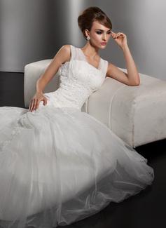 Forme Sirène/Trompette Encolure carrée Traîne moyenne Satiné Tulle Robe de mariée avec Plissé Dentelle Emperler (002000628)