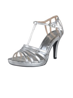 Leatherette Cone Heel Platform Slingbacks Sandals With Buckle (087028457)