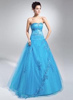 Duchesse-Linie Schatz Bodenlang Tüll Quinceañera Kleid (Kleid für die Geburtstagsfeier) mit Perlstickerei Applikationen Spitze Pailletten (021015113)
