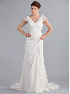 A-Line/Princess V-neck Court Train Chiffon Wedding Dress With Ruffle Lace Beading (002025340)