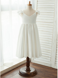 Knee-length Flower Girl Dress - Chiffon/Satin Short Sleeves V-neck (010122555)