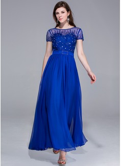 A-Linie/Princess-Linie U-Ausschnitt Knöchellang Chiffon Abendkleid mit Perlstickerei (017025438)