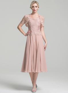 A-Linie/Princess-Linie Rechteckiger Ausschnitt Wadenlang Chiffon Kleid für die Brautmutter (008094034)