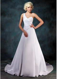 Forme Princesse Encolure asymétrique Traîne mi-longue Satiné Robe de mariée avec Plissé Emperler Sequins (002001181)