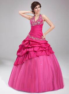 Duchesse-Linie Träger Bodenlang Taft Tüll Quinceañera Kleid (Kleid für die Geburtstagsfeier) mit Bestickt Rüschen Perlen verziert (021002885)