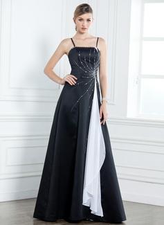 A-Linie/Princess-Linie Bodenlang Satin Kleid für die Brautmutter mit Schleifenbänder/Stoffgürtel Perlen verziert Gestufte Rüschen (008003185)