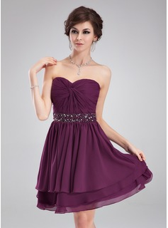 A-Line/Princess Sweetheart Knee-Length Chiffon Homecoming Dress With Ruffle Beading (022009061)