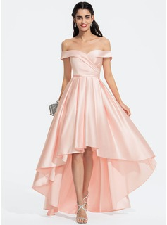 A-Line Off-the-Shoulder Asymmetrical Satin Prom Dresses With Ruffle (018187188)