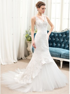 Trumpet/Mermaid V-neck Chapel Train Tulle Lace Wedding Dress With Beading Sequins (002052650)