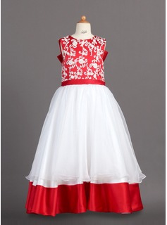 A-Line/Princess Floor-length Flower Girl Dress - Organza/Charmeuse Sleeveless Scoop Neck With Lace (010007988)