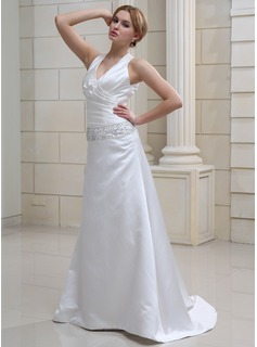 Sheath/Column V-neck Sweep Train Satin Wedding Dress With Ruffle Beading Sequins (002012845)
