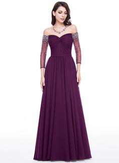 A-Linie/Princess-Linie Schulterfrei Bodenlang Chiffon Abendkleid mit Rüschen Perlen verziert Pailletten (017056122)