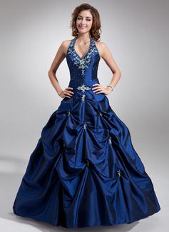 Duchesse-Linie Träger Bodenlang Taft Quinceañera Kleid (Kleid für die Geburtstagsfeier) mit Bestickt Perlen verziert (021004580)