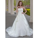 Ball-Gown Sweetheart Chapel Train Satin Tulle Wedding Dress With Ruffle Lace Beadwork (002000471)