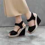 De mujer Malla Tipo de tacón Cuñas con Material Block zapatos (087209078)