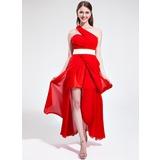 A-Linie/Princess-Linie One-Shoulder-Träger Asymmetrisch Chiffon Festliche Kleid mit Rüschen Schleifenbänder/Stoffgürtel Schlitz Vorn (020039562)
